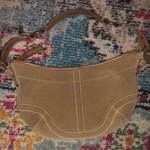 Suede Vintage Coach Shoulder Bag